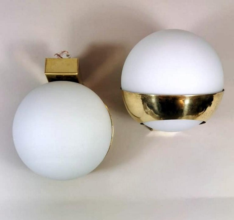 20th Century Stilnovo Style Italian Pair of Brass Wall Sconces and Glass Spheres Opaline