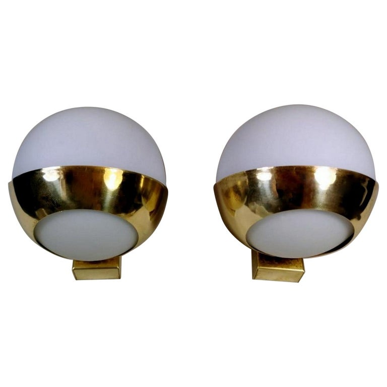 Stilnovo Style Italian Pair of Brass Wall Sconces and Glass Spheres Opaline