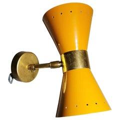 Stilnovo Style Italian Wall Sconce Model Diabolo in Brass and Metal Orange Color