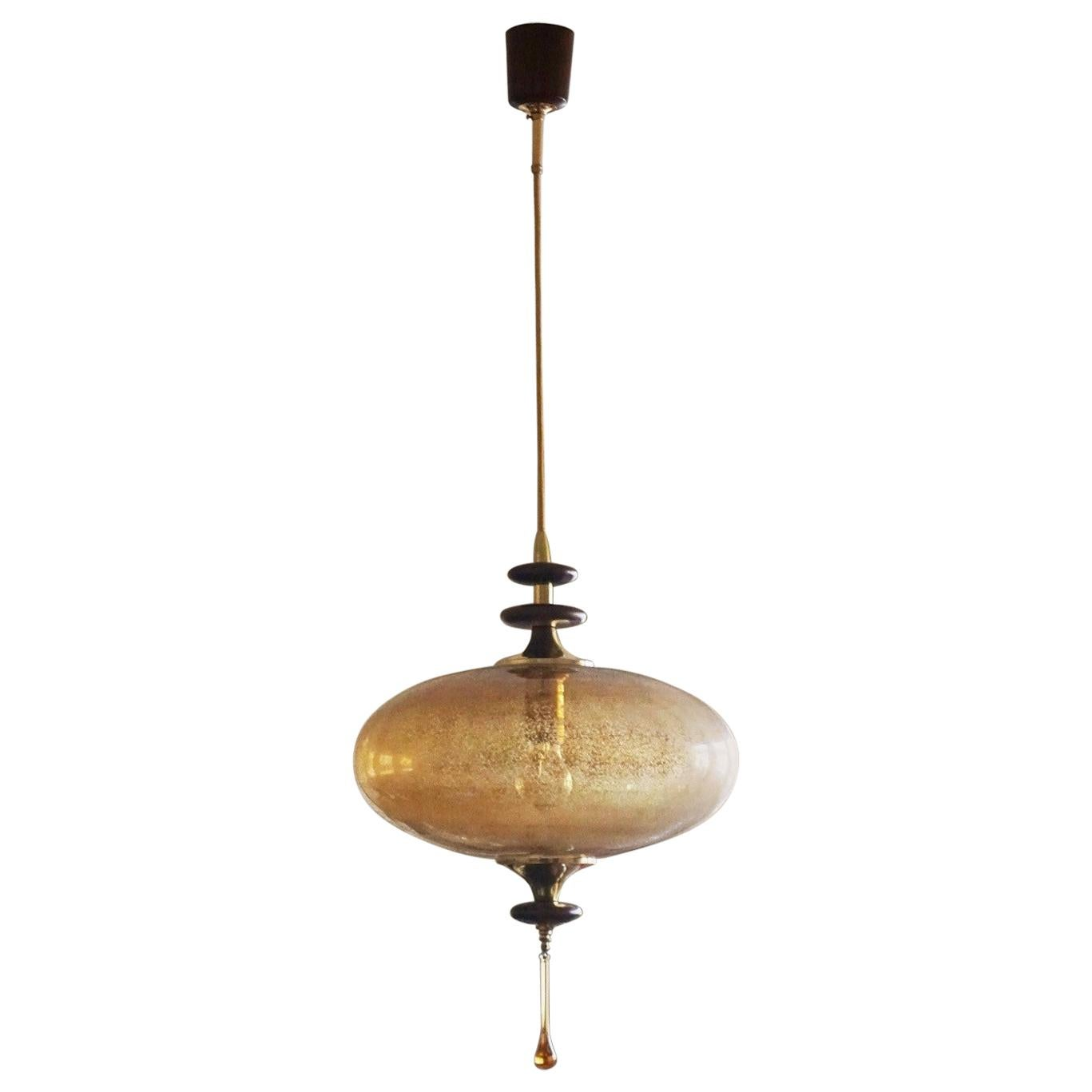 Stilnovo Style Large Murano Glass, Rosewood and Brass UFO Pendant, Italy, 1950s