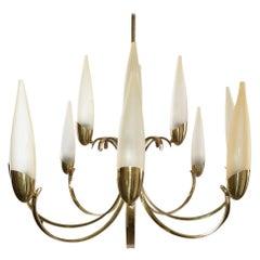 Stilnovo Style Mid-Century Modern 12-Light Brass Chandelier