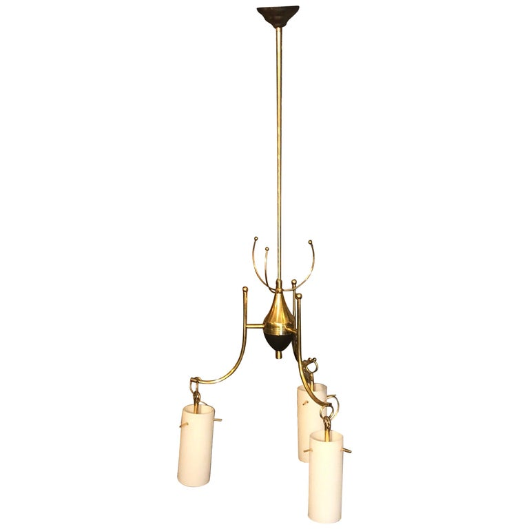Stilnovo Style Mid-Century Modern Brass and Glass Italian Chandelier, circa 1960 For Sale