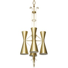 Stilnovo Style Midcentury Italian Brass Chandelier, 2 available