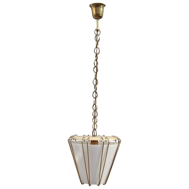 Stilnovo Style Midcentury Lantern Italian Design Brass Gold 1950s Cone Form For Sale