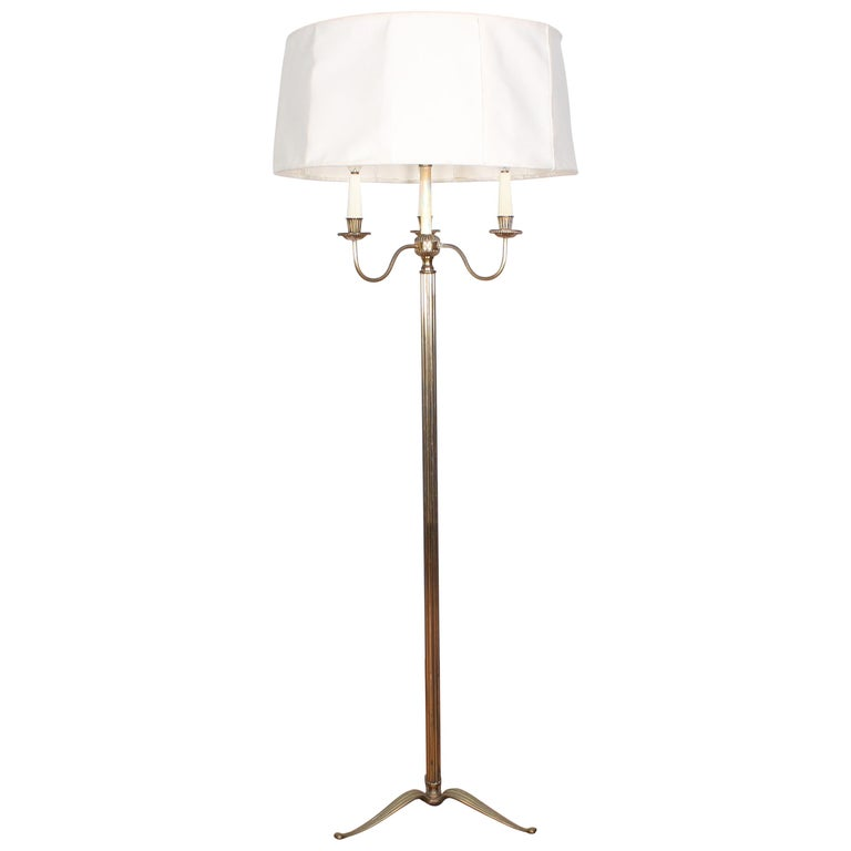 Midcentury Brass Floor Lamp Stilnovo Style Production Italy 1950s  For Sale