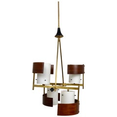 Stilnovo Style Teak, Brass and Opaline Glass Chandelier Pendant, 1960s, Italy