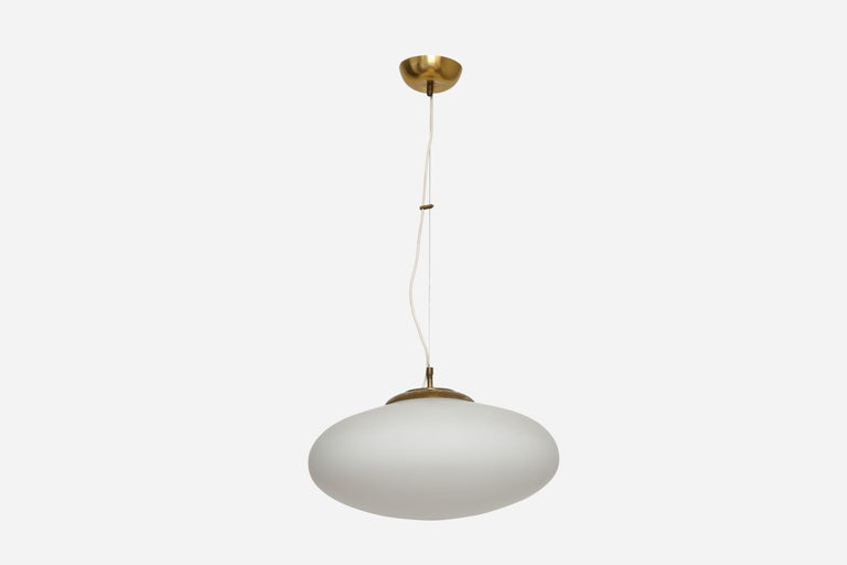 Stilnovo style UFO ceiling pendant. Italy, 1960s. Glass, patinated brass.