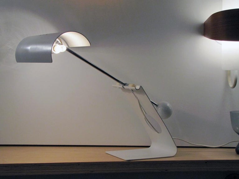 Rare pivoting desk lamp by Sabine Charoy for Stilnovo, Italy 1970, white enameled metal and chrome, wired for US standards, two E12 sockets, max. wattage 60w each, bulbs provided as a onetime courtesy.