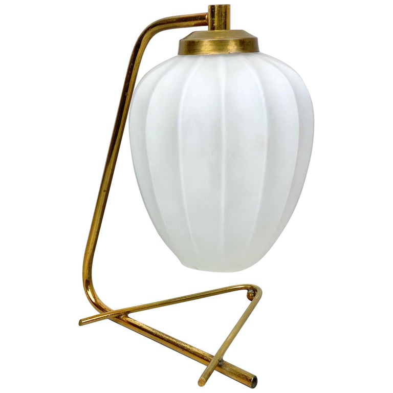 Stilnovo Table Lamp Brass and Opaline Glass, Italy, 1950s For Sale