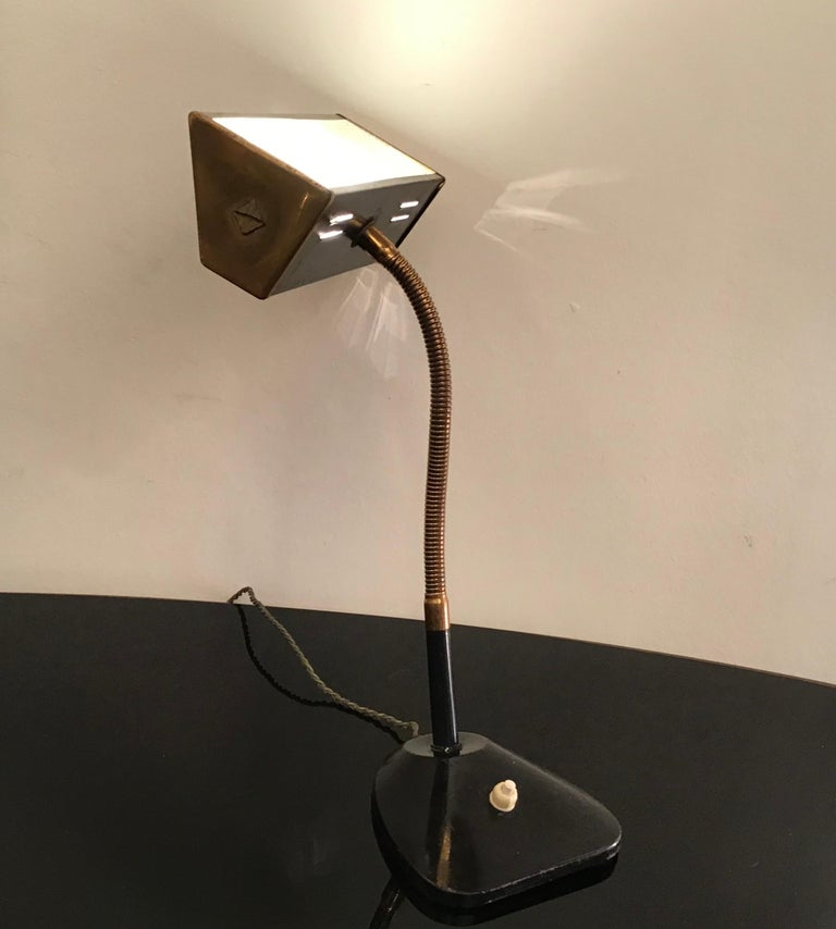 Stilnovo Table Lamp Brass Glass Metal, 1950, Italy For Sale 5