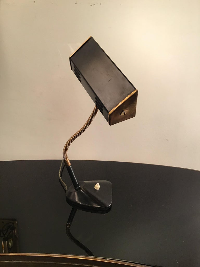 Stilnovo Table Lamp Brass Glass Metal, 1950, Italy For Sale 6