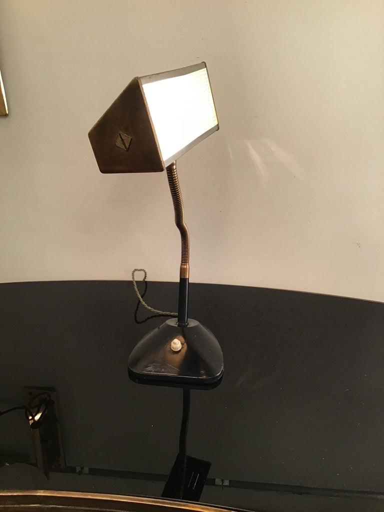 Stilnovo Table Lamp Brass Glass Metal, 1950, Italy For Sale 9