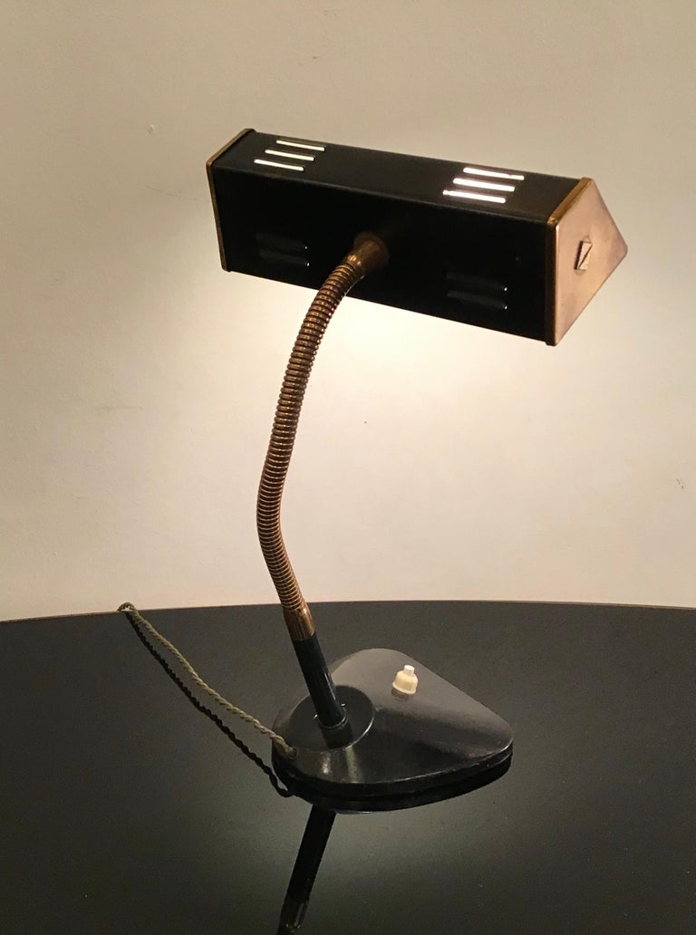 Stilnovo Table Lamp Brass Glass Metal, 1950, Italy In Excellent Condition For Sale In Milano, IT