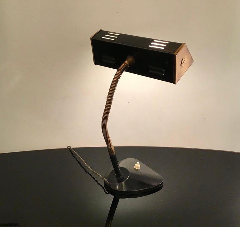 Mid-20th Century Stilnovo Table Lamp Brass Glass Metal, 1950, Italy For Sale