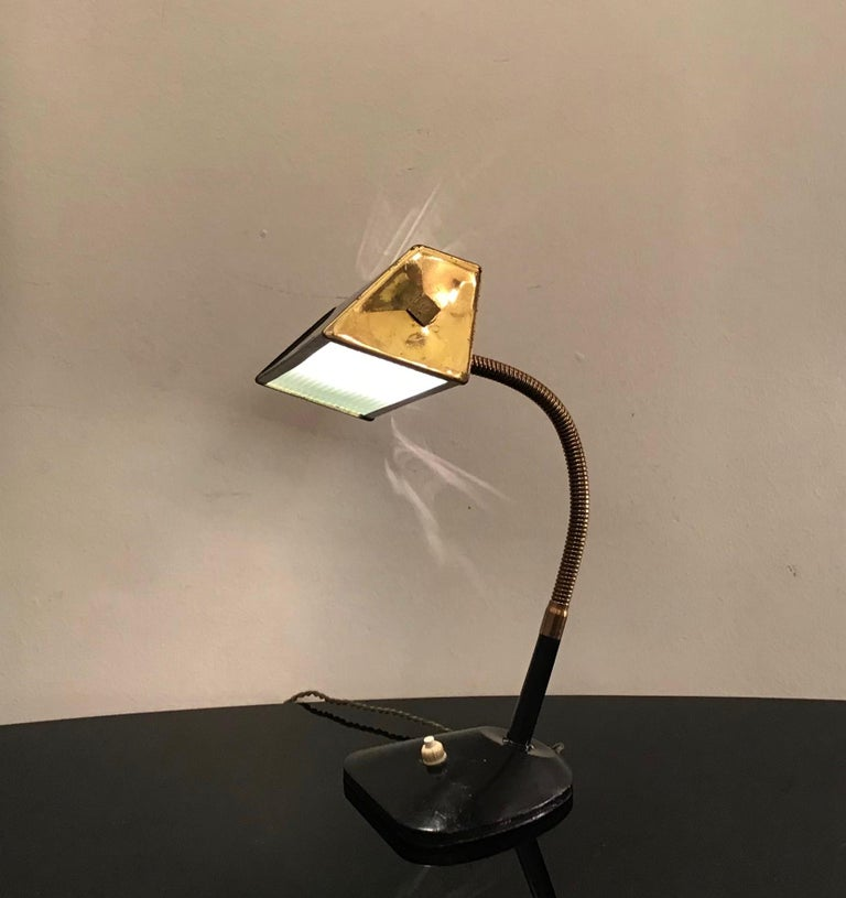 Stilnovo Table Lamp Brass Glass Metal, 1950, Italy For Sale 2