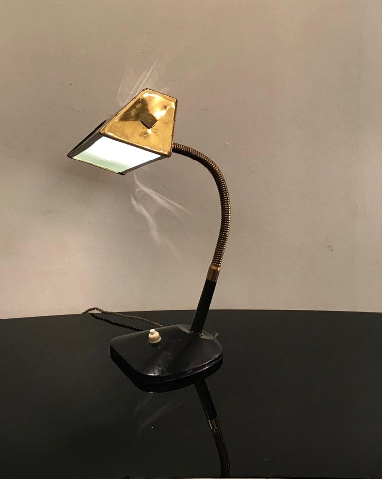 Stilnovo Table Lamp Brass Glass Metal, 1950, Italy For Sale 3