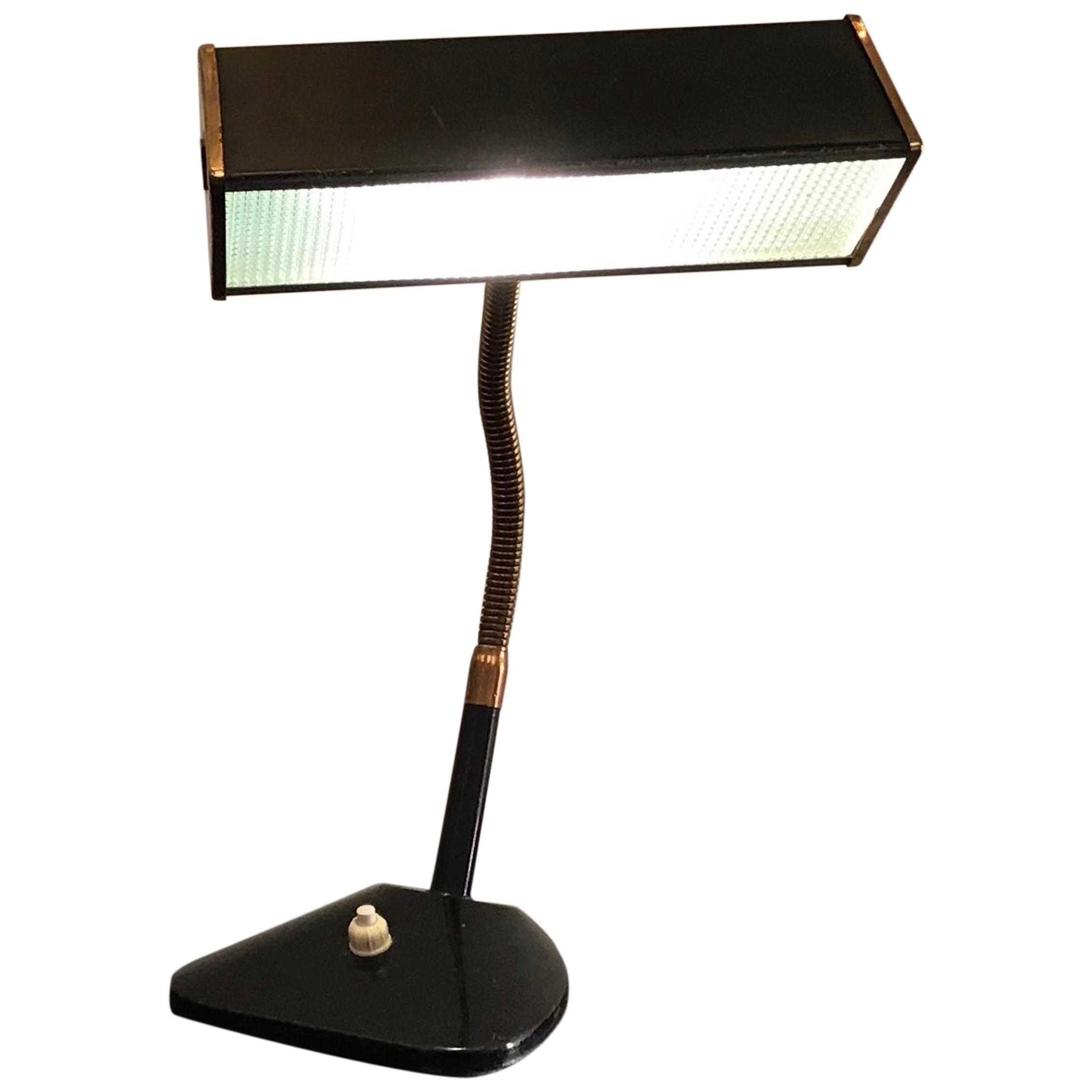 Stilnovo Style Table Lamp Brass Glass Metal, 1950, Italy