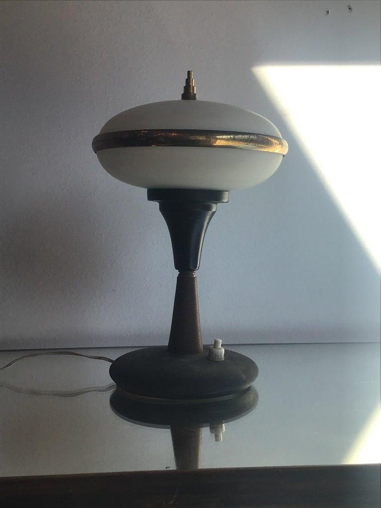 Italian Stilnovo Table Lamp Brass Glass Wood, 1955, Italy For Sale