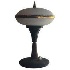 Stilnovo Table Lamp Brass Glass Wood, 1955, Italy