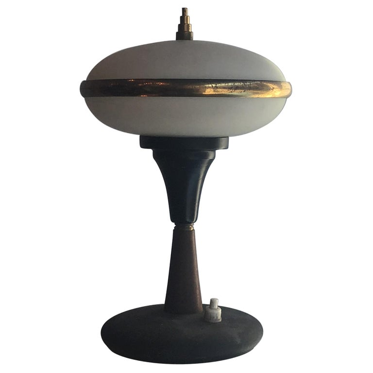Stilnovo Table Lamp Brass Glass Wood, 1955, Italy For Sale