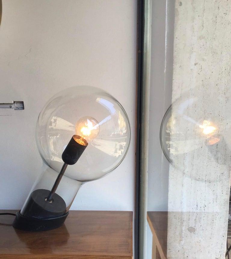Stilnovo Table Lamp Glass Ghisa Metal, 1960, Italy For Sale 4