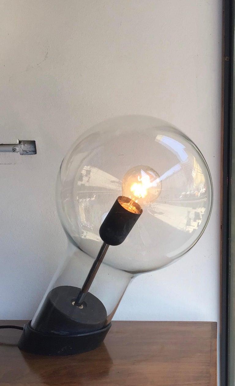 Stilnovo Table Lamp Glass Ghisa Metal, 1960, Italy For Sale 5