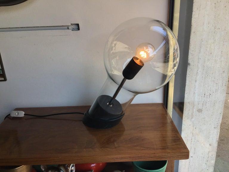 Stilnovo Table Lamp Glass Ghisa Metal, 1960, Italy For Sale 6