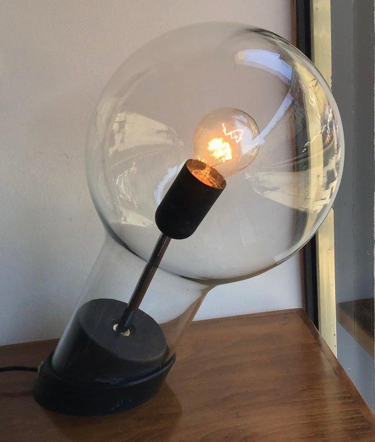 Stilnovo Table Lamp Glass Ghisa Metal, 1960, Italy For Sale 7