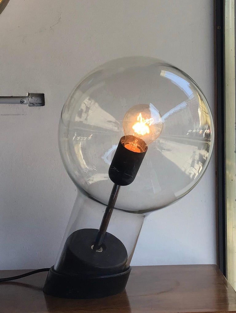 Other Stilnovo Table Lamp Glass Ghisa Metal, 1960, Italy For Sale