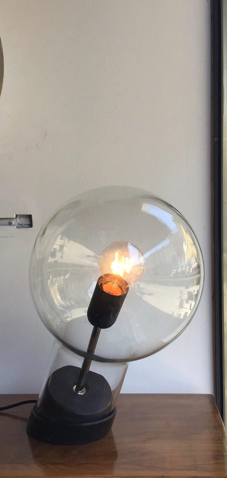 Italian Stilnovo Table Lamp Glass Ghisa Metal, 1960, Italy For Sale