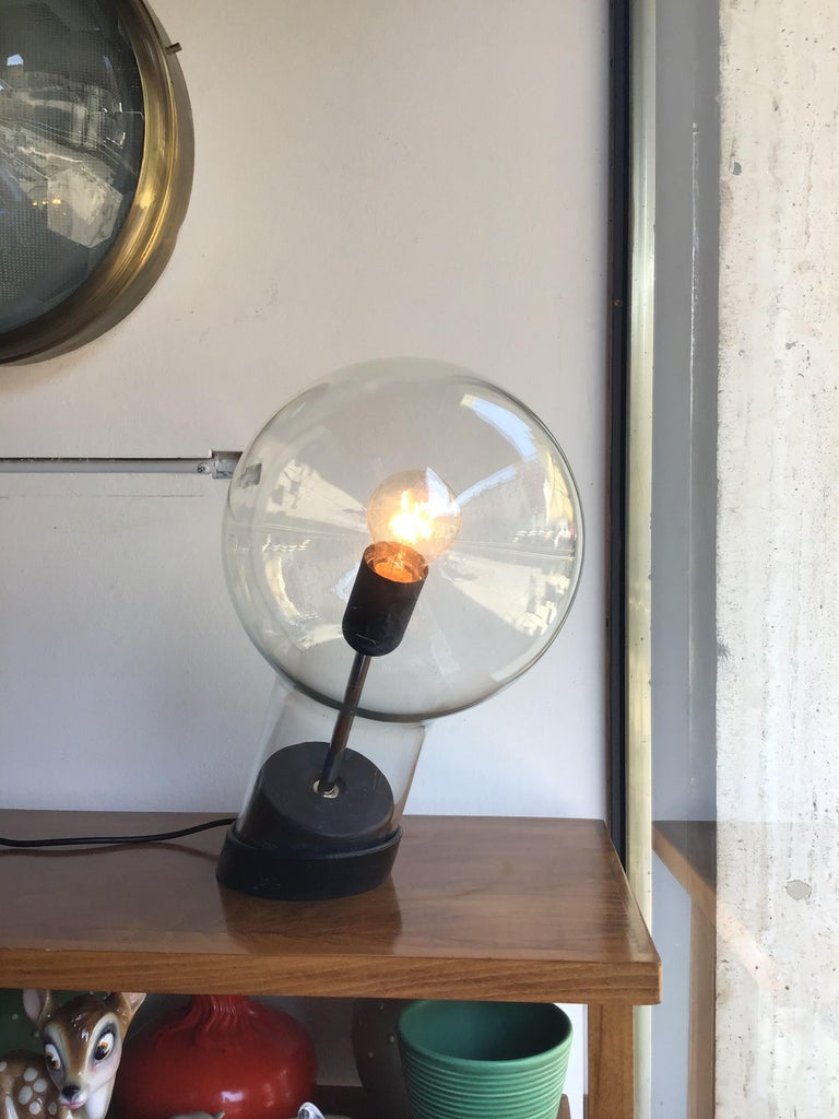 Stilnovo Table Lamp Glass Ghisa Metal, 1960, Italy In Excellent Condition For Sale In Milano, IT