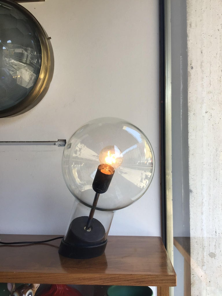 Mid-20th Century Stilnovo Table Lamp Glass Ghisa Metal, 1960, Italy For Sale