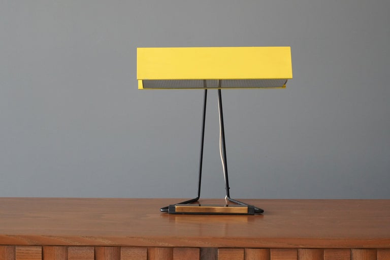 Italian Stilnovo, Table Lamp, Glass, Yellow Lacquered Metal, Brass, Italy, 1950s For Sale