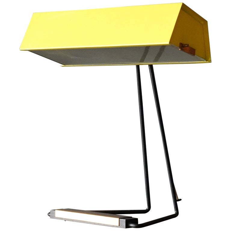 Stilnovo, Table Lamp, Glass, Yellow Lacquered Metal, Brass, Italy, 1950s For Sale