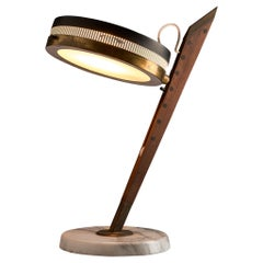 Stilnovo Table Lamp in Metal, Walnut and Marble, Italy, 1960s