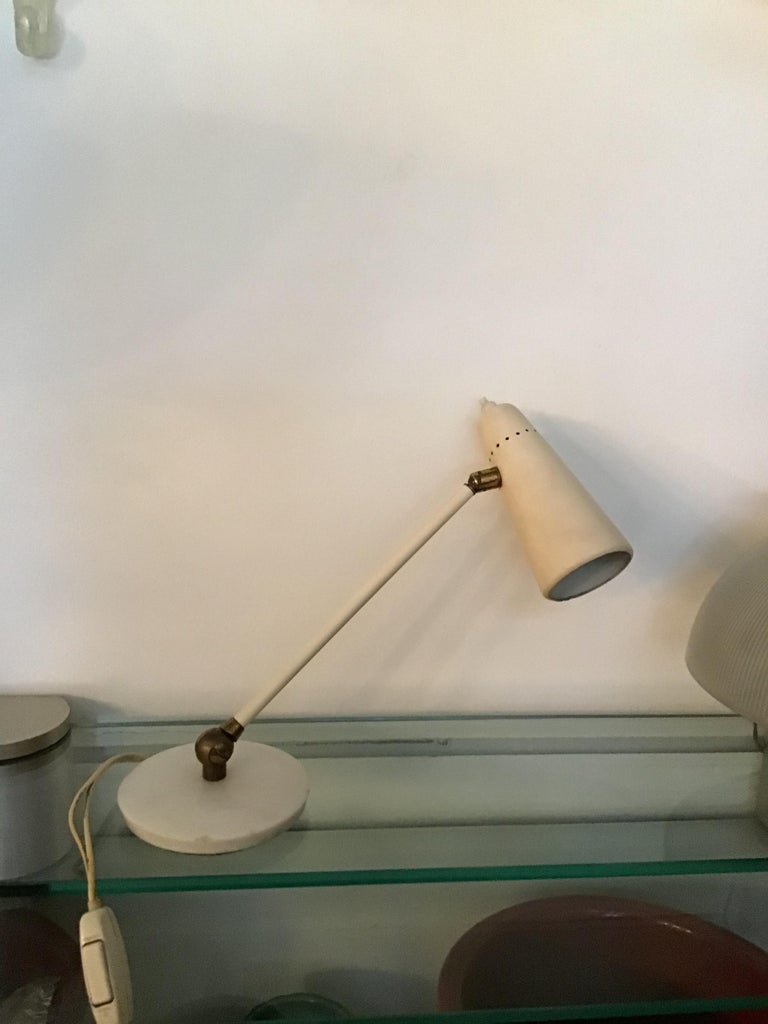 Stilnovo Table Lamp Marble Brass Metal 1950 Italy, Adjustable in Multiple Direct For Sale 6