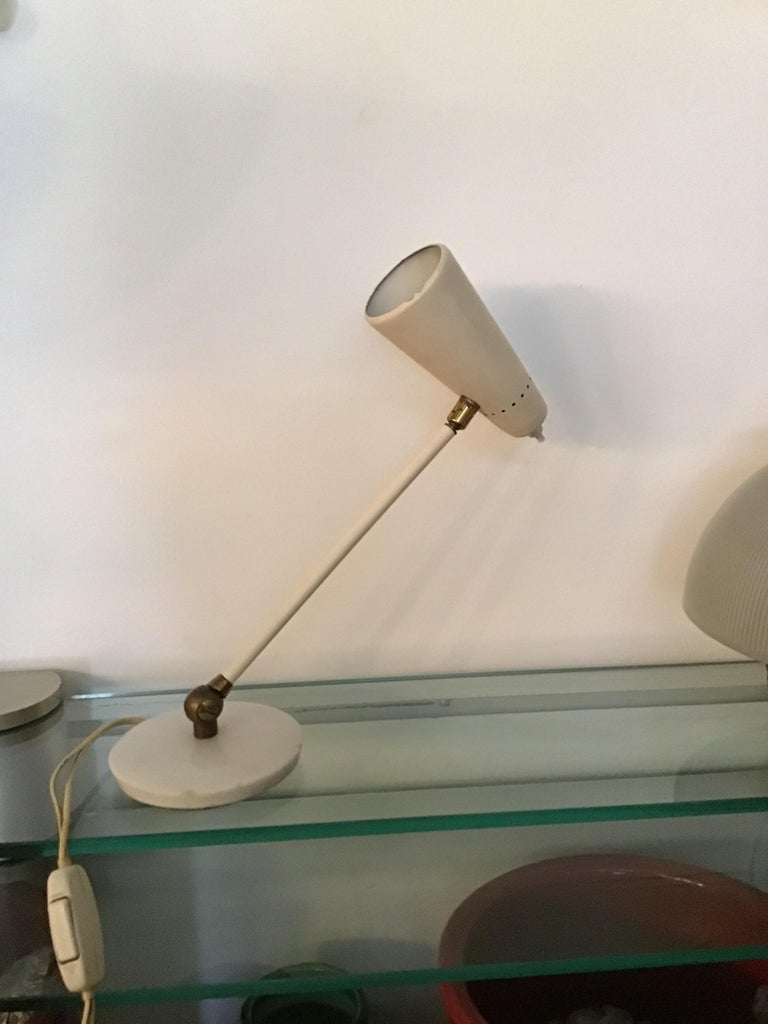 Stilnovo Table Lamp Marble Brass Metal 1950 Italy, Adjustable in Multiple Direct For Sale 7