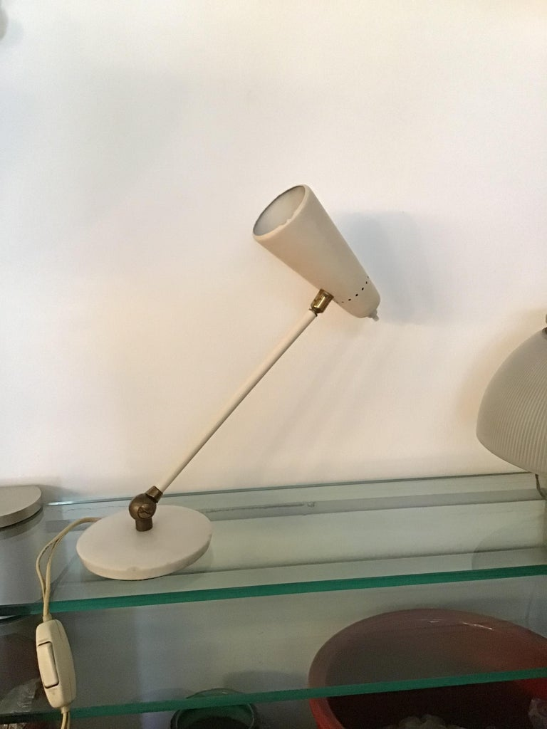 Stilnovo Table Lamp Marble Brass Metal 1950 Italy, Adjustable in Multiple Direct For Sale 8