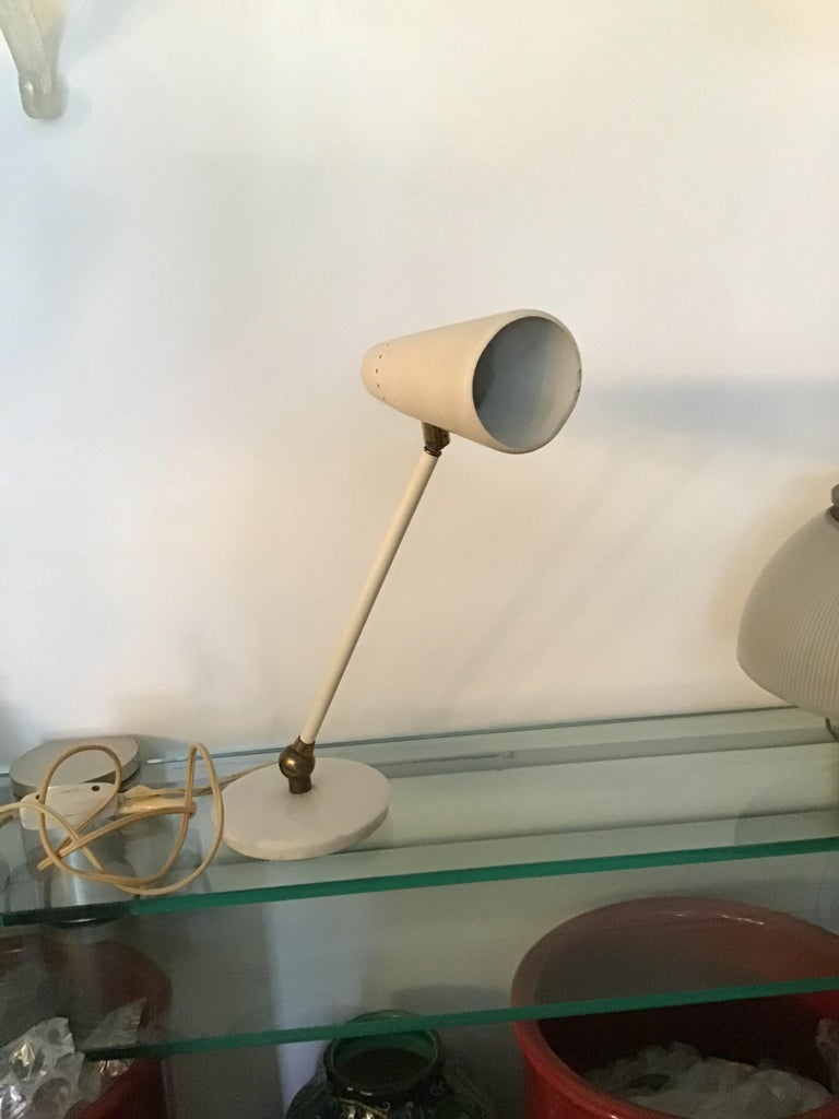 Other Stilnovo Table Lamp Marble Brass Metal 1950 Italy, Adjustable in Multiple Direct For Sale