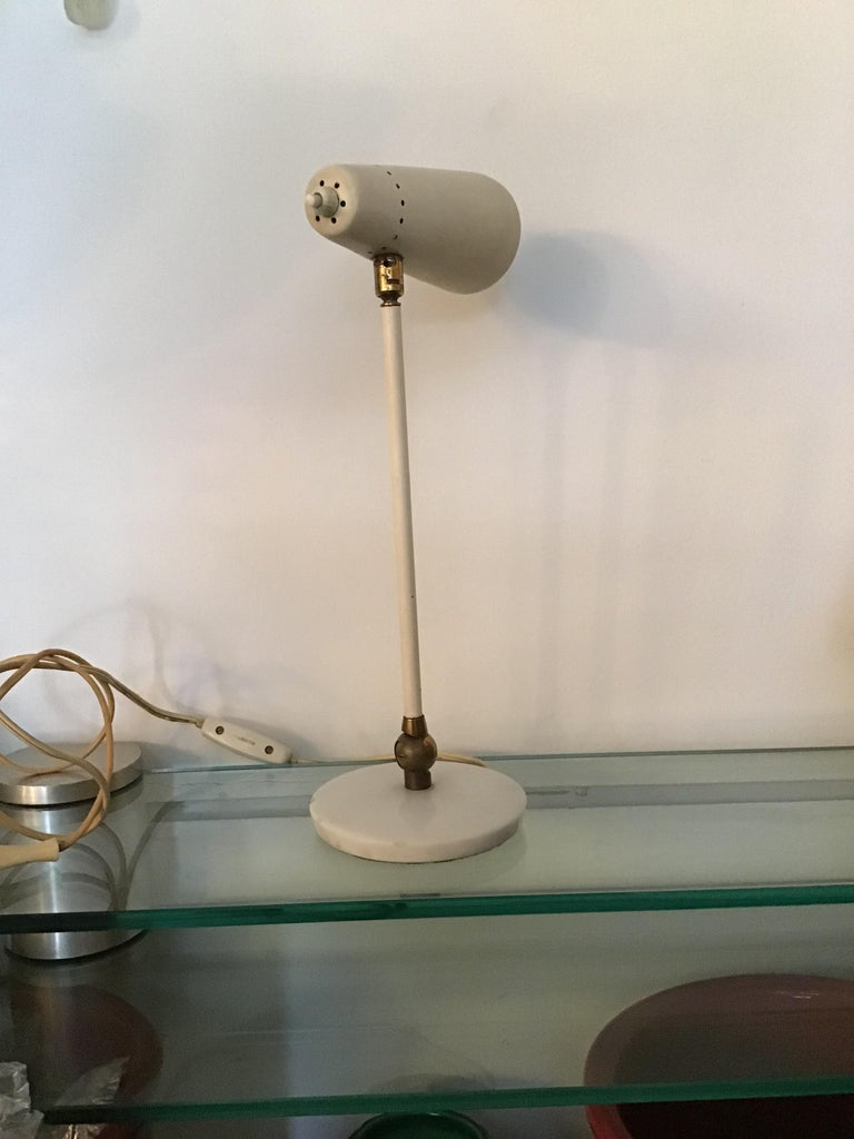 Italian Stilnovo Table Lamp Marble Brass Metal 1950 Italy, Adjustable in Multiple Direct For Sale