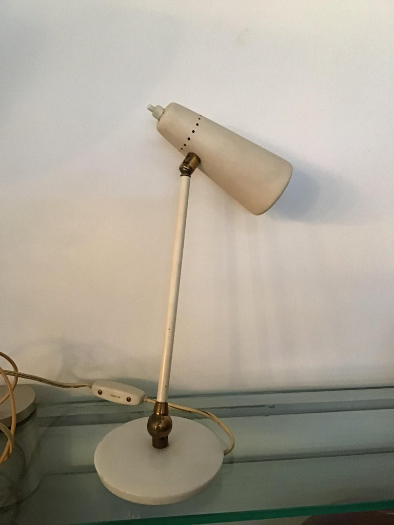 Stilnovo Table Lamp Marble Brass Metal 1950 Italy, Adjustable in Multiple Direct In Good Condition For Sale In Milano, IT