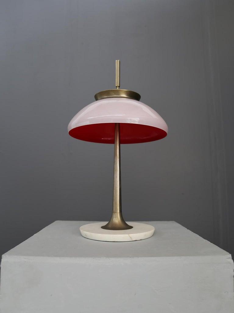 Mid-20th Century Stilnovo Table Lamp Midcentury in Brass Mod. 8091, Original Label, 1950s