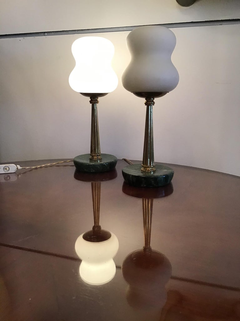 Stilnovo StyleTable Lamps Opaline Brass Marbre, 1950, Italy For Sale 3