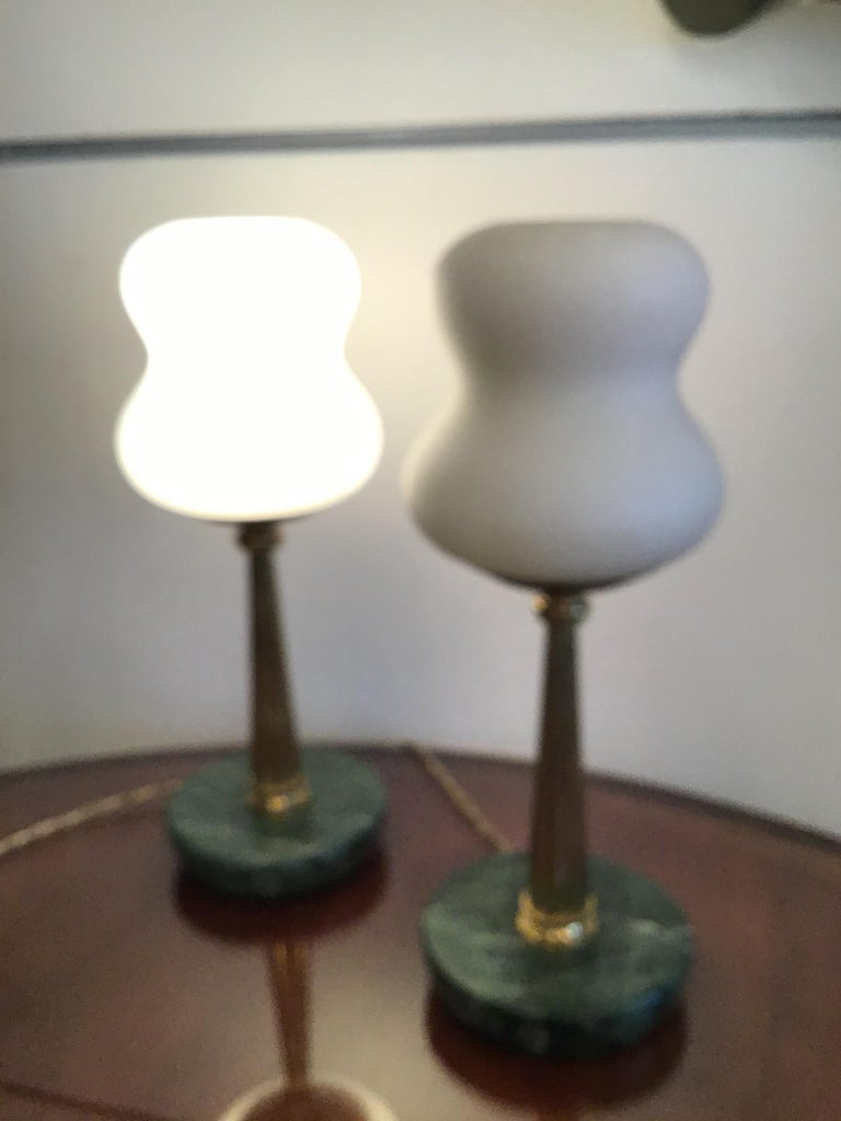 Stilnovo StyleTable Lamps Opaline Brass Marbre, 1950, Italy For Sale 5
