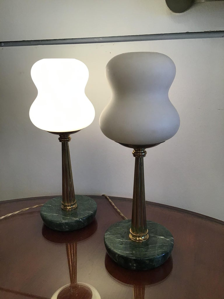 Stilnovo StyleTable Lamps Opaline Brass Marbre, 1950, Italy For Sale 7