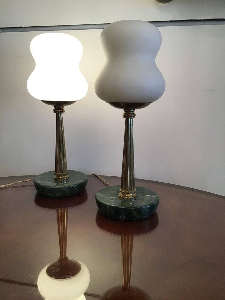 Stilnovo StyleTable Lamps Opaline Brass Marbre, 1950, Italy For Sale 8