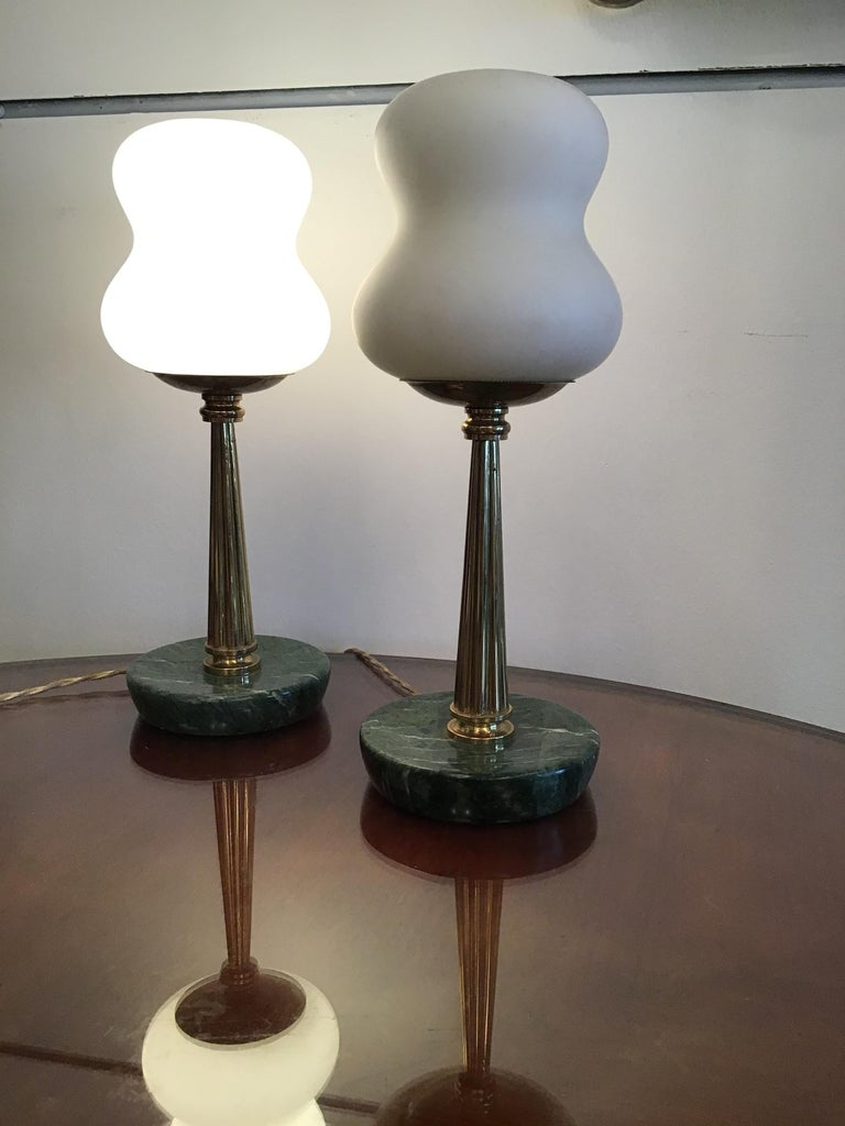 Stilnovo StyleTable Lamps Opaline Brass Marbre, 1950, Italy For Sale 9