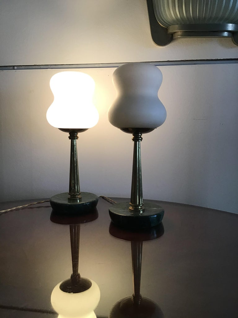 Stilnovo Style table lamps opaline brass Marbre, 1950, Italy.