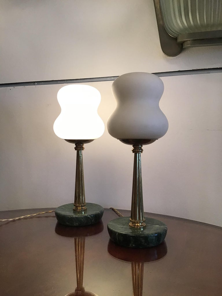 Italian Stilnovo StyleTable Lamps Opaline Brass Marbre, 1950, Italy For Sale