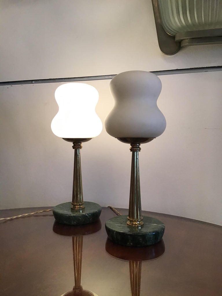 Stilnovo StyleTable Lamps Opaline Brass Marbre, 1950, Italy In Excellent Condition For Sale In Milano, IT